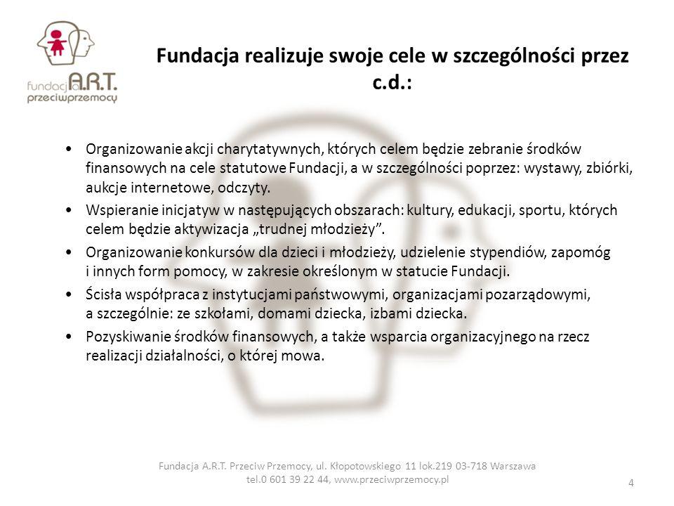 Fundacja realizuje swoje cele w szczególności przez c.d.: