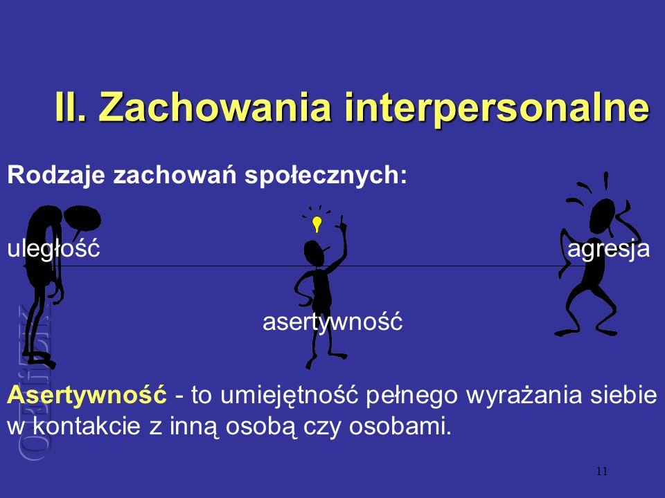 II. Zachowania interpersonalne