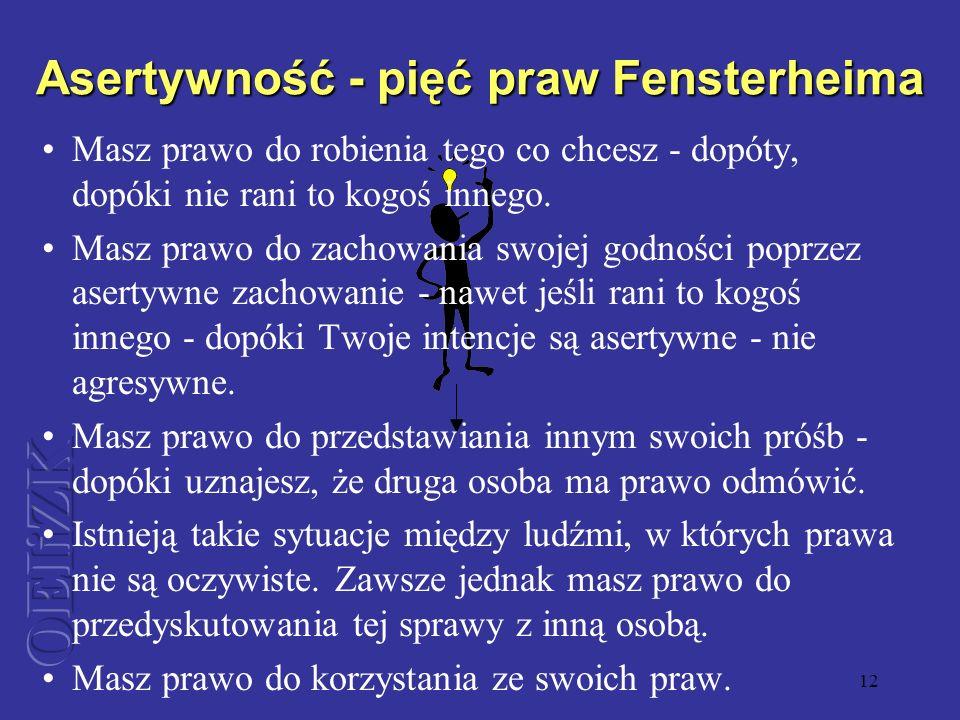 Asertywność - pięć praw Fensterheima
