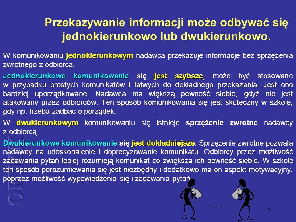 Przekazywanie informacji może odbywać się jednokierunkowo lub dwukierunkowo.