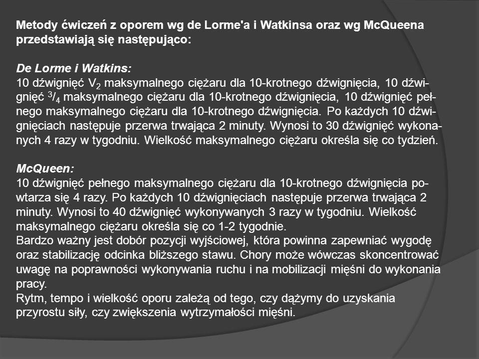 Metody ćwiczeń z oporem wg de Lorme a i Watkinsa oraz wg McQueena przedstawiają się następująco: