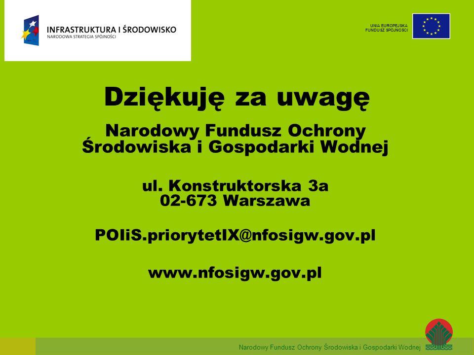 Dziękuję za uwagę Narodowy Fundusz Ochrony Środowiska i Gospodarki Wodnej ul. Konstruktorska 3a 02-673 Warszawa.