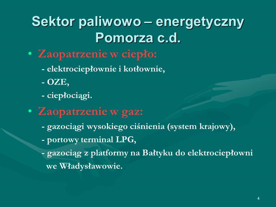 Sektor paliwowo – energetyczny Pomorza c.d.