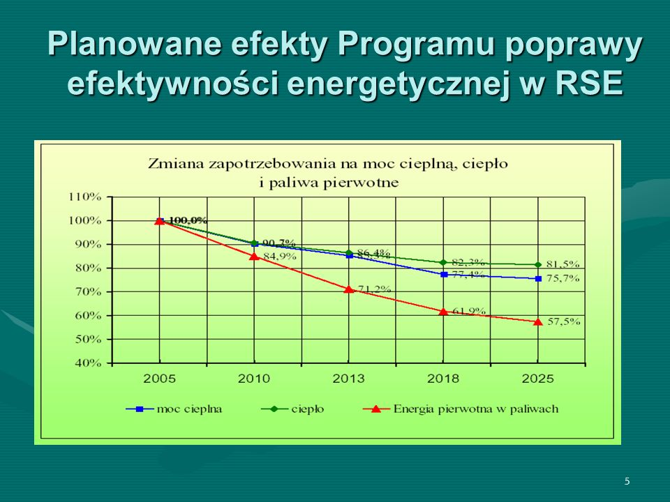 Planowane efekty Programu poprawy efektywności energetycznej w RSE