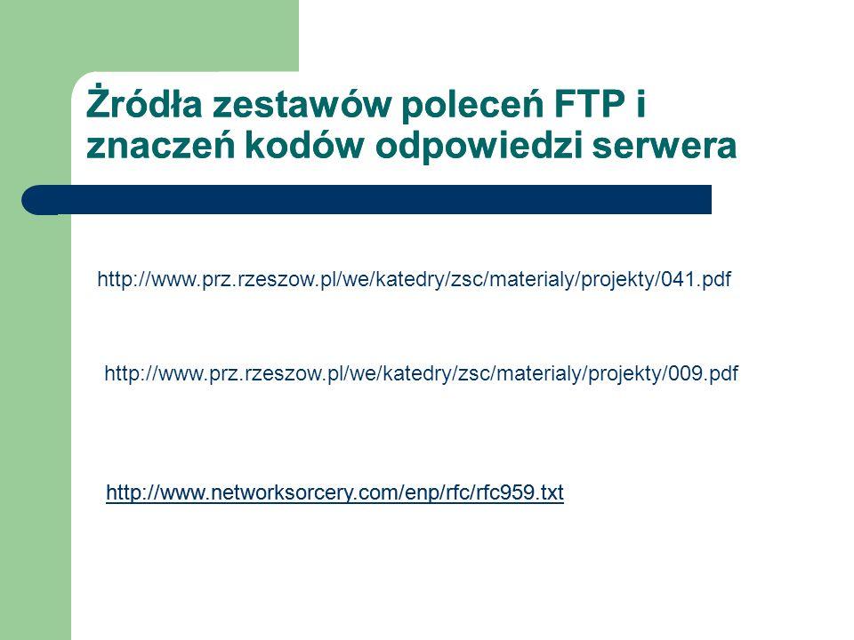 Żródła zestawów poleceń FTP i znaczeń kodów odpowiedzi serwera