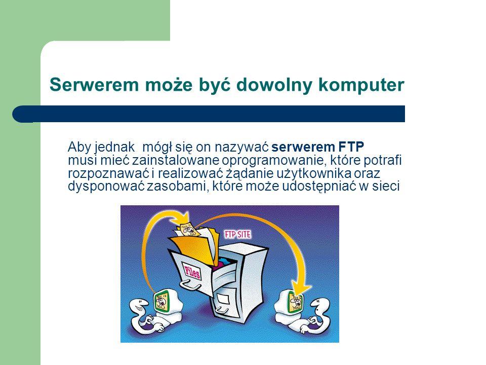 Serwerem może być dowolny komputer