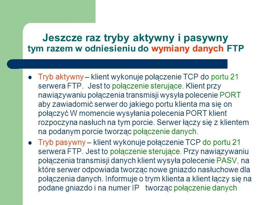 Jeszcze raz tryby aktywny i pasywny tym razem w odniesieniu do wymiany danych FTP