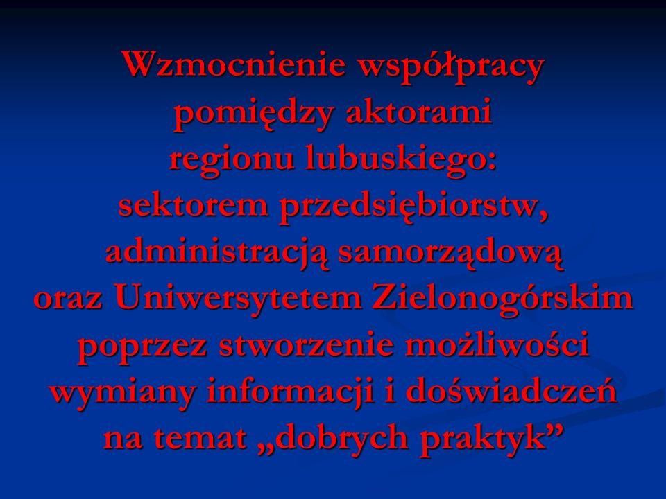 """Wzmocnienie współpracy pomiędzy aktorami regionu lubuskiego: sektorem przedsiębiorstw, administracją samorządową oraz Uniwersytetem Zielonogórskim poprzez stworzenie możliwości wymiany informacji i doświadczeń na temat """"dobrych praktyk"""