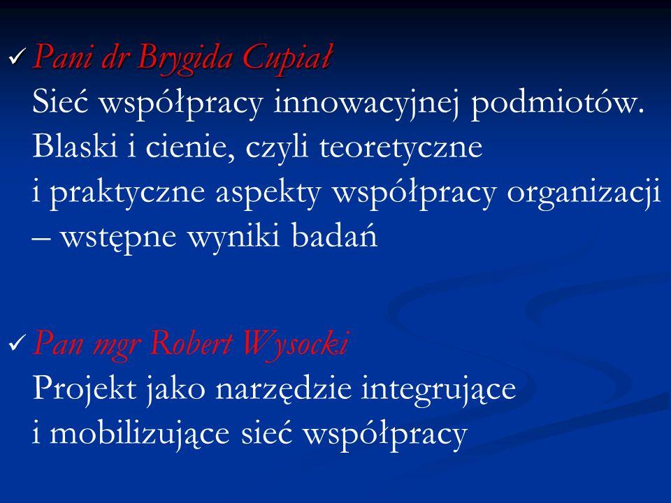 Pani dr Brygida Cupiał Sieć współpracy innowacyjnej podmiotów