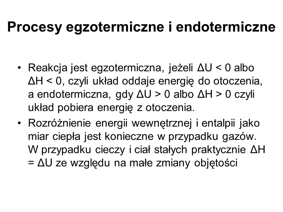 Procesy egzotermiczne i endotermiczne