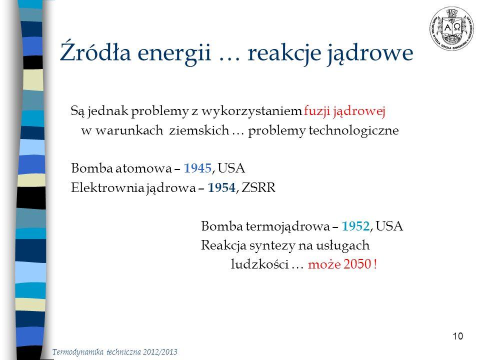 Źródła energii … reakcje jądrowe
