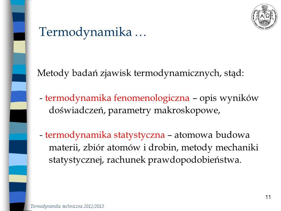 Termodynamika … Metody badań zjawisk termodynamicznych, stąd: