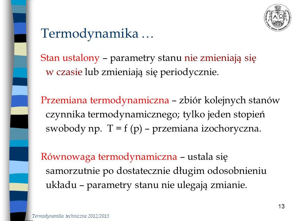 Termodynamika … Stan ustalony – parametry stanu nie zmieniają się