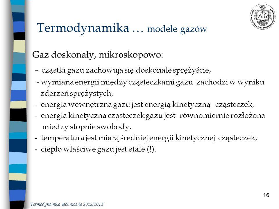 Termodynamika … modele gazów
