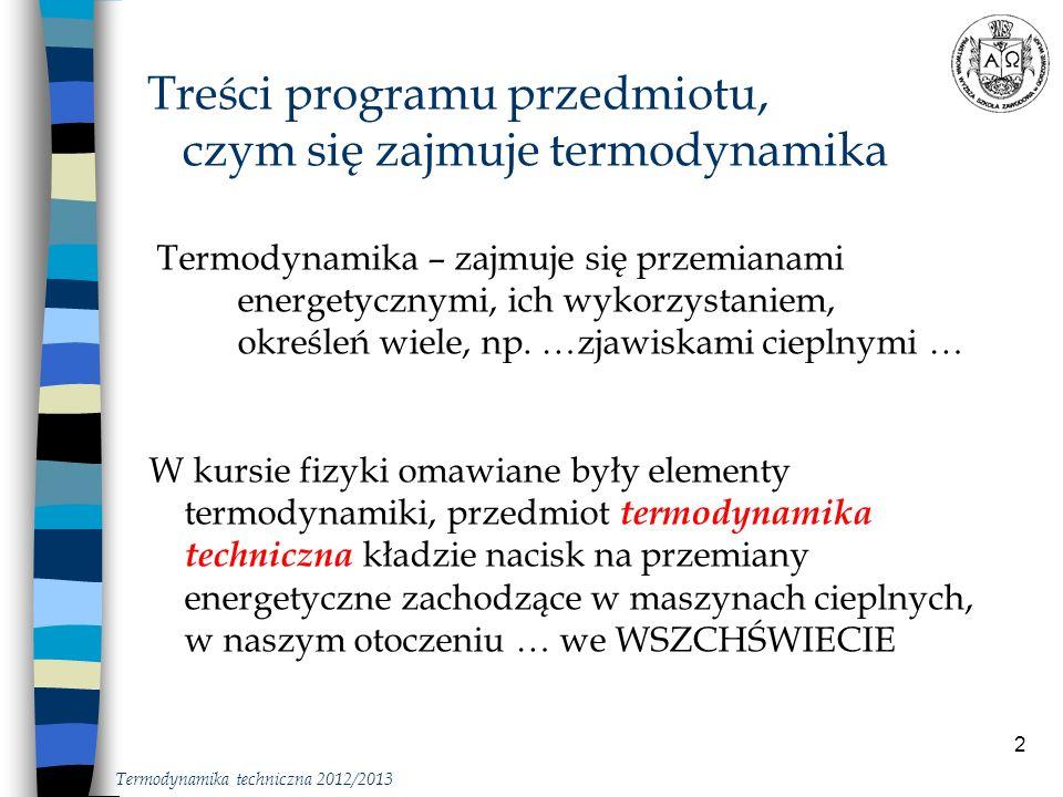 Treści programu przedmiotu, czym się zajmuje termodynamika