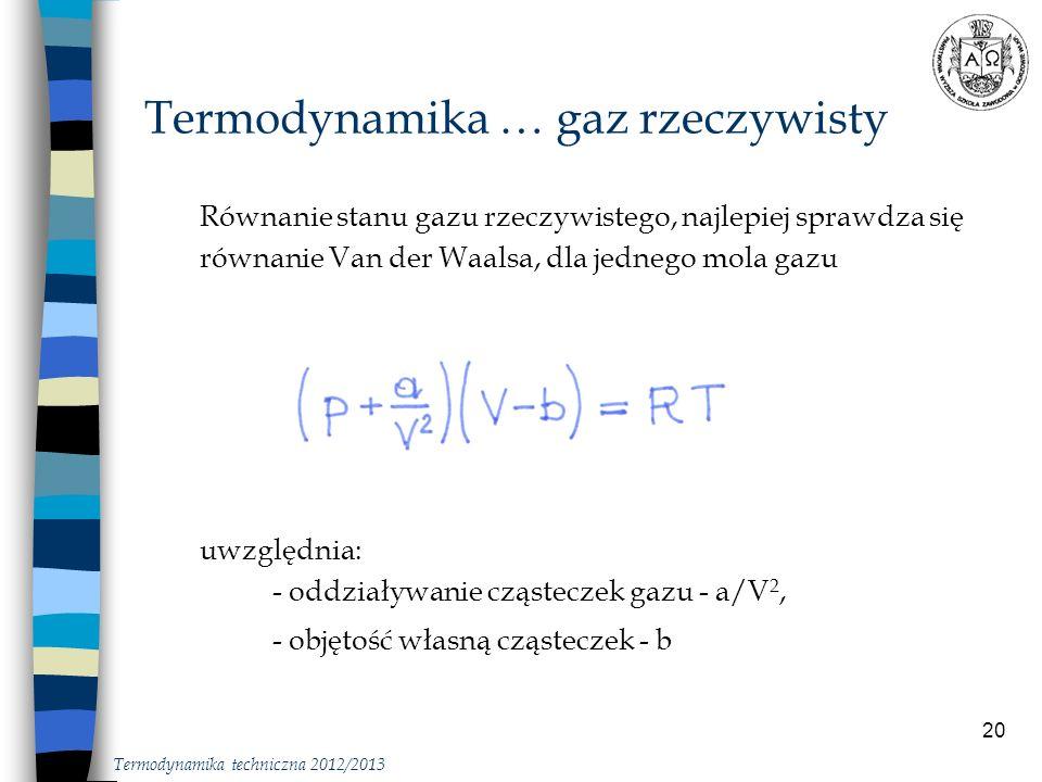 Termodynamika … gaz rzeczywisty