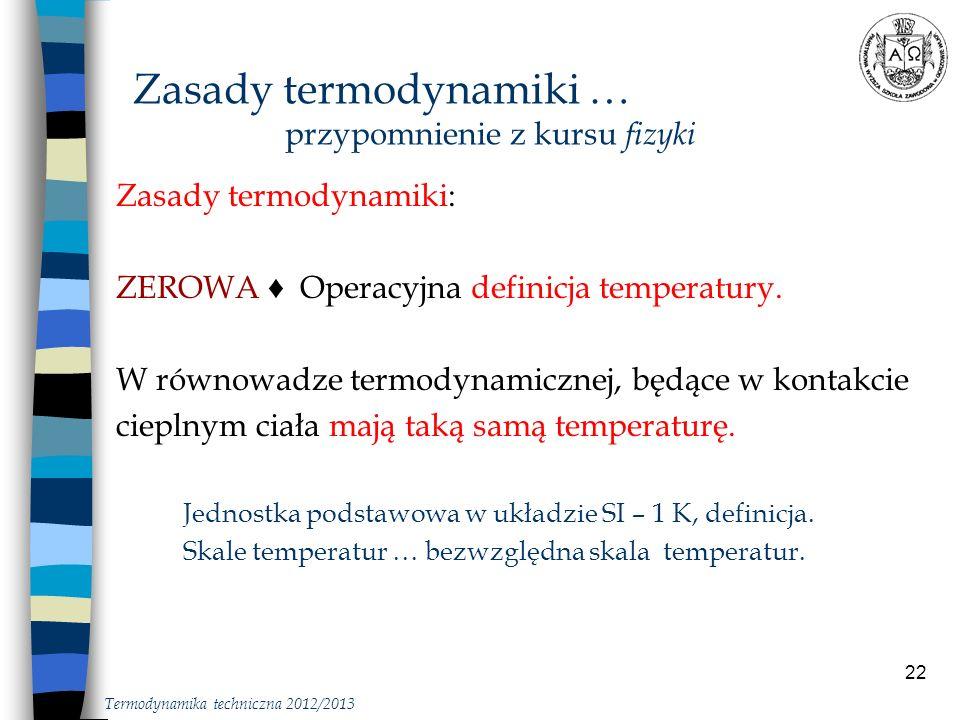 Zasady termodynamiki … przypomnienie z kursu fizyki