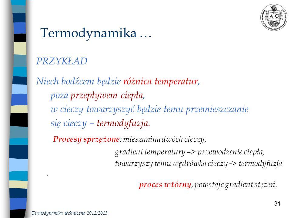 Termodynamika … Procesy sprzężone: mieszanina dwóch cieczy, PRZYKŁAD