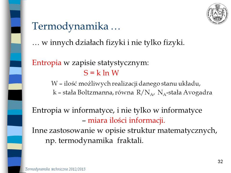 Termodynamika … … w innych działach fizyki i nie tylko fizyki.