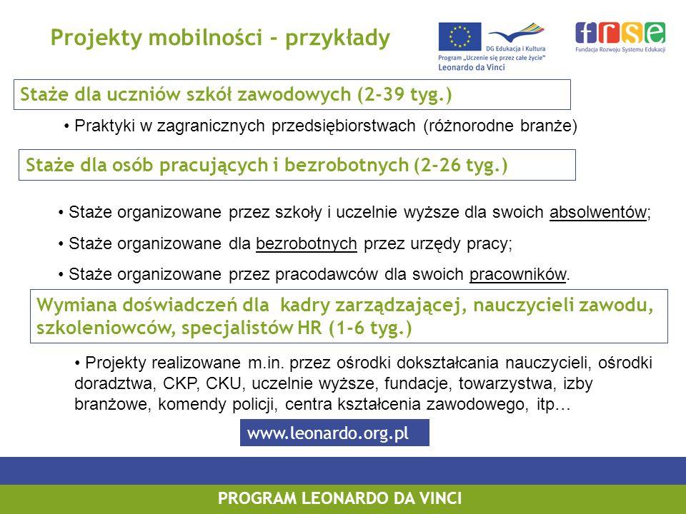 Projekty mobilności - przykłady PROGRAM LEONARDO DA VINCI