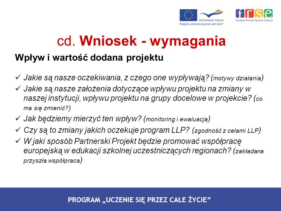 cd. Wniosek - wymagania Wpływ i wartość dodana projektu