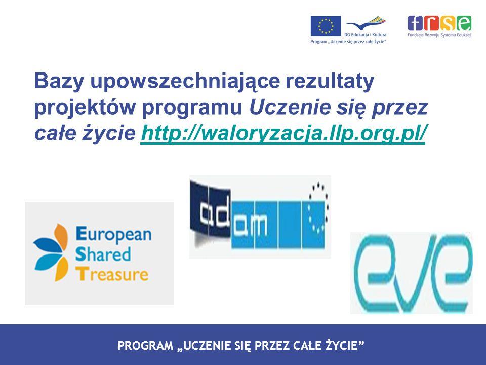 Bazy upowszechniające rezultaty projektów programu Uczenie się przez całe życie http://waloryzacja.llp.org.pl/