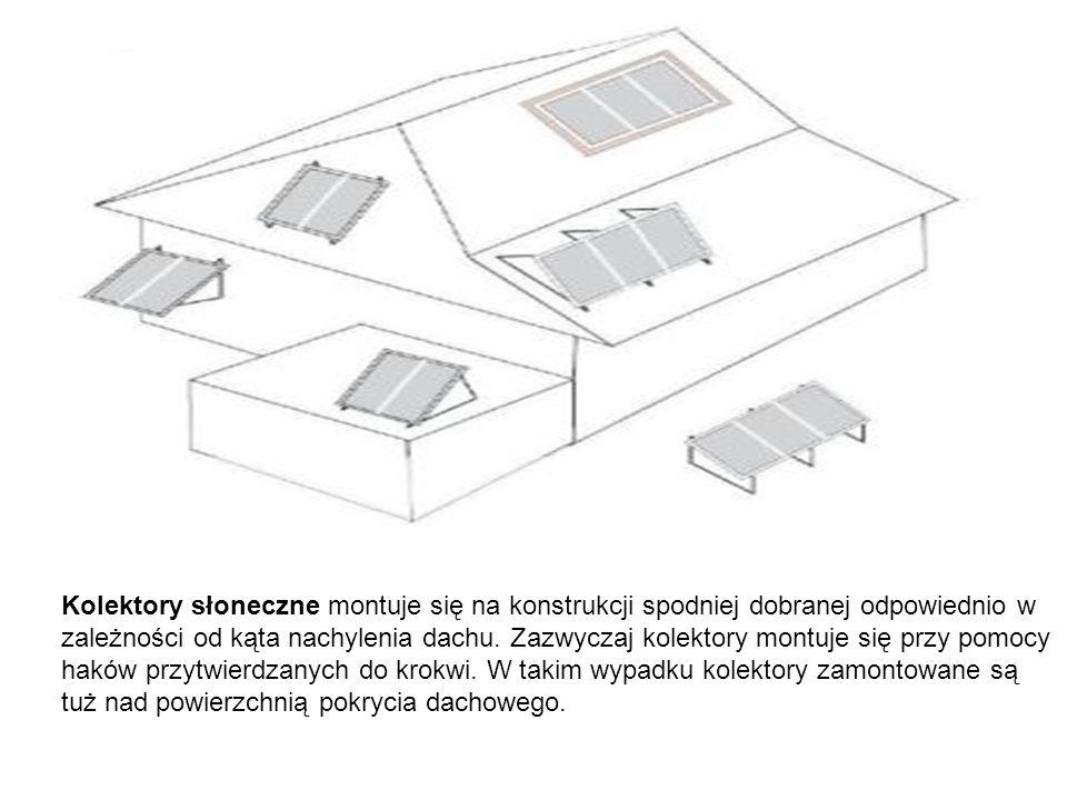 Kolektory słoneczne montuje się na konstrukcji spodniej dobranej odpowiednio w zależności od kąta nachylenia dachu.