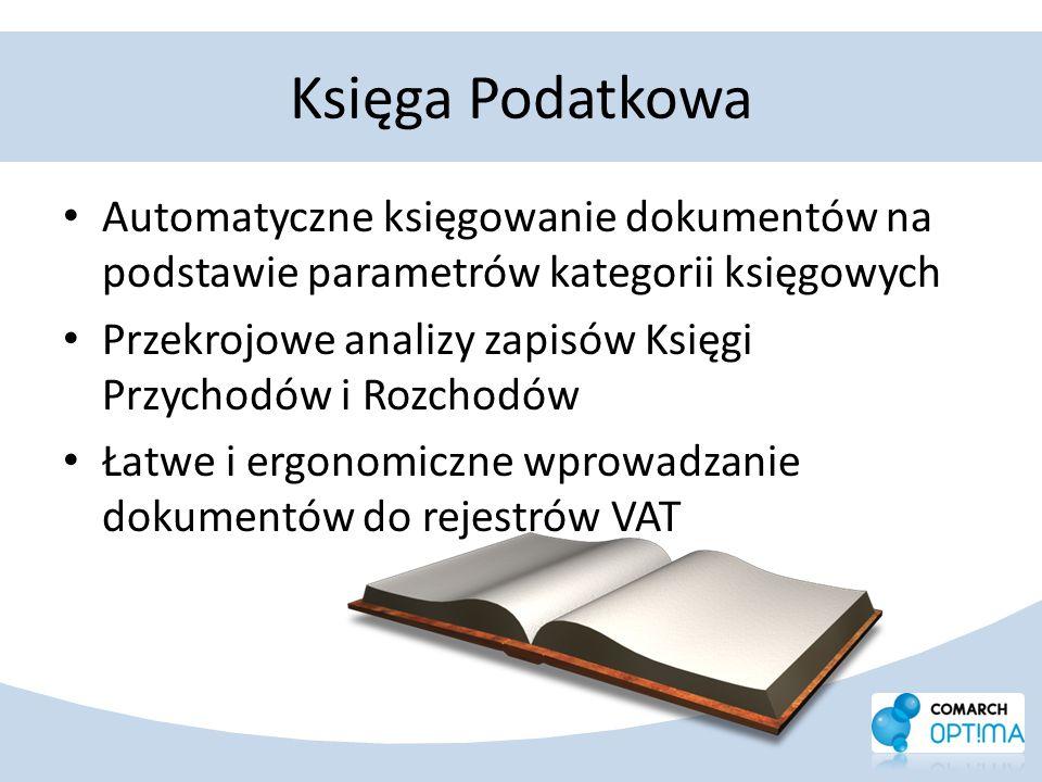 Księga Podatkowa Automatyczne księgowanie dokumentów na podstawie parametrów kategorii księgowych.