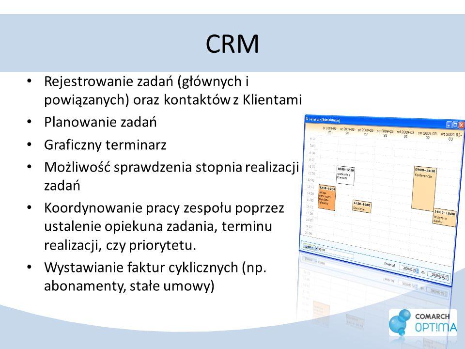 CRMRejestrowanie zadań (głównych i powiązanych) oraz kontaktów z Klientami. Planowanie zadań. Graficzny terminarz.