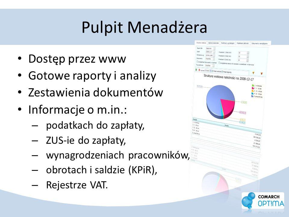 Pulpit Menadżera Dostęp przez www Gotowe raporty i analizy