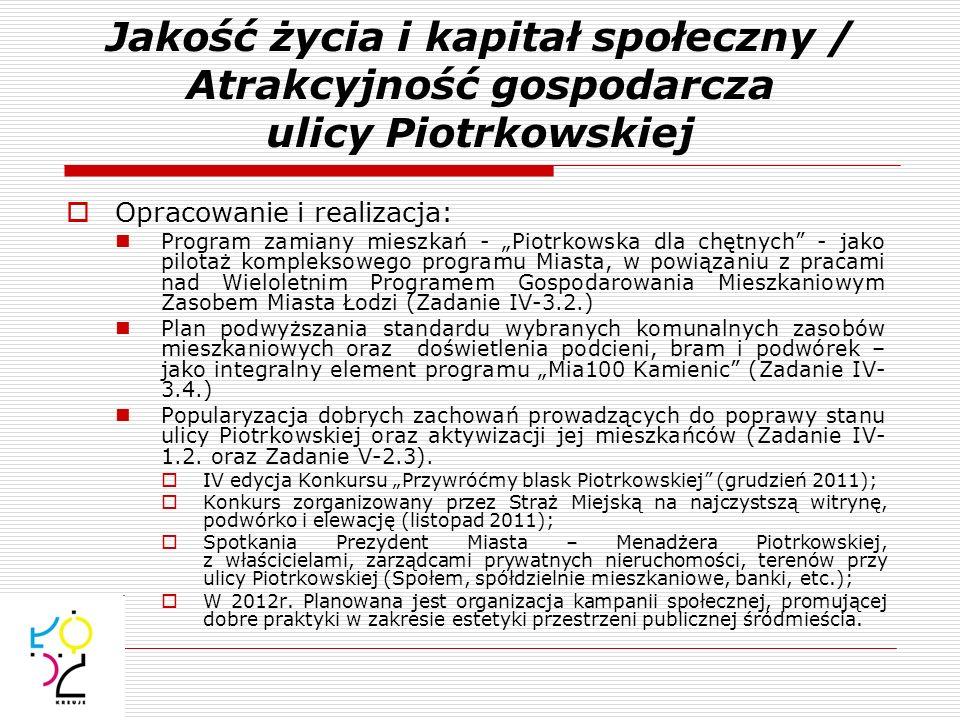 Jakość życia i kapitał społeczny / Atrakcyjność gospodarcza ulicy Piotrkowskiej