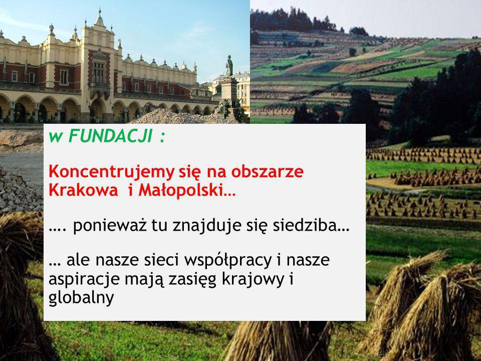w FUNDACJI : Koncentrujemy się na obszarze Krakowa i Małopolski…