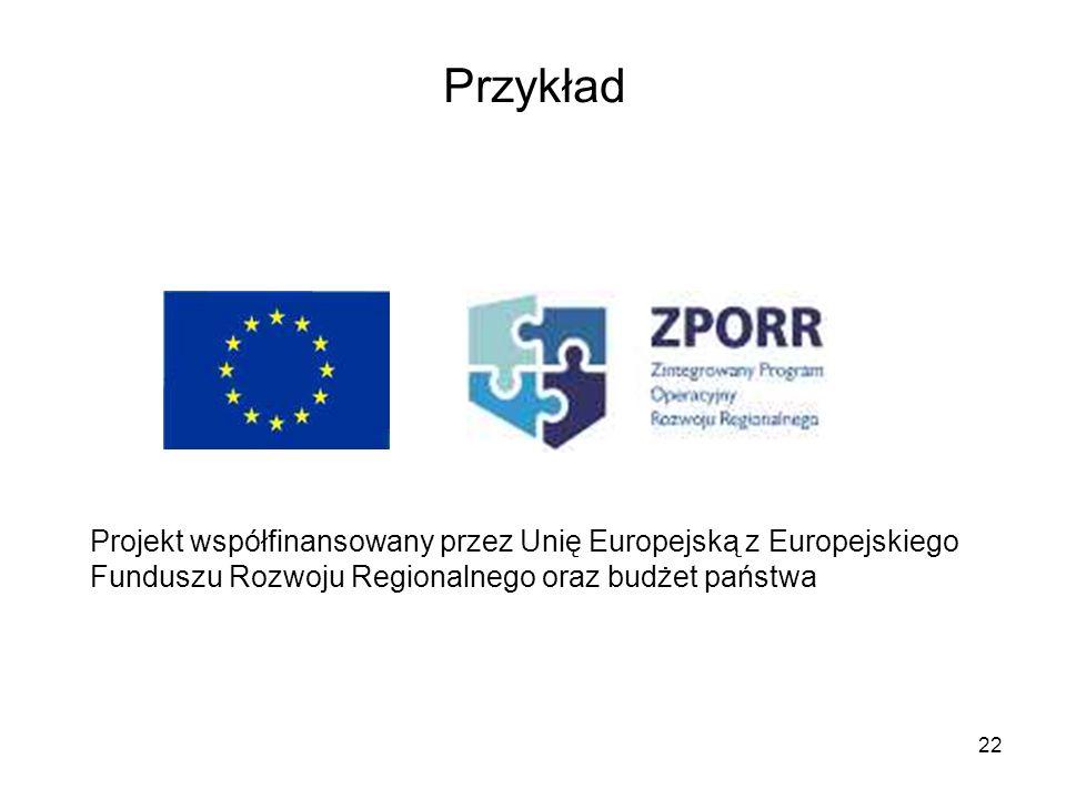 Przykład Projekt współfinansowany przez Unię Europejską z Europejskiego Funduszu Rozwoju Regionalnego oraz budżet państwa.