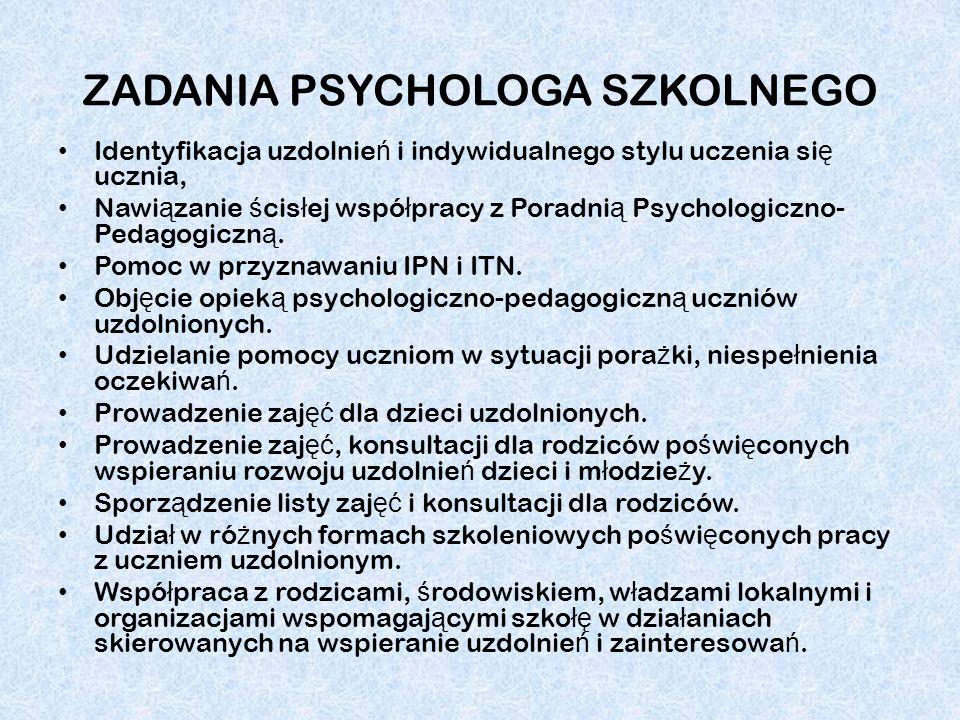 ZADANIA PSYCHOLOGA SZKOLNEGO