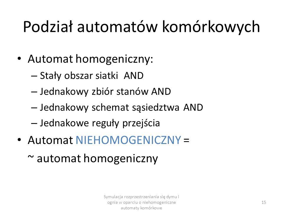 Podział automatów komórkowych