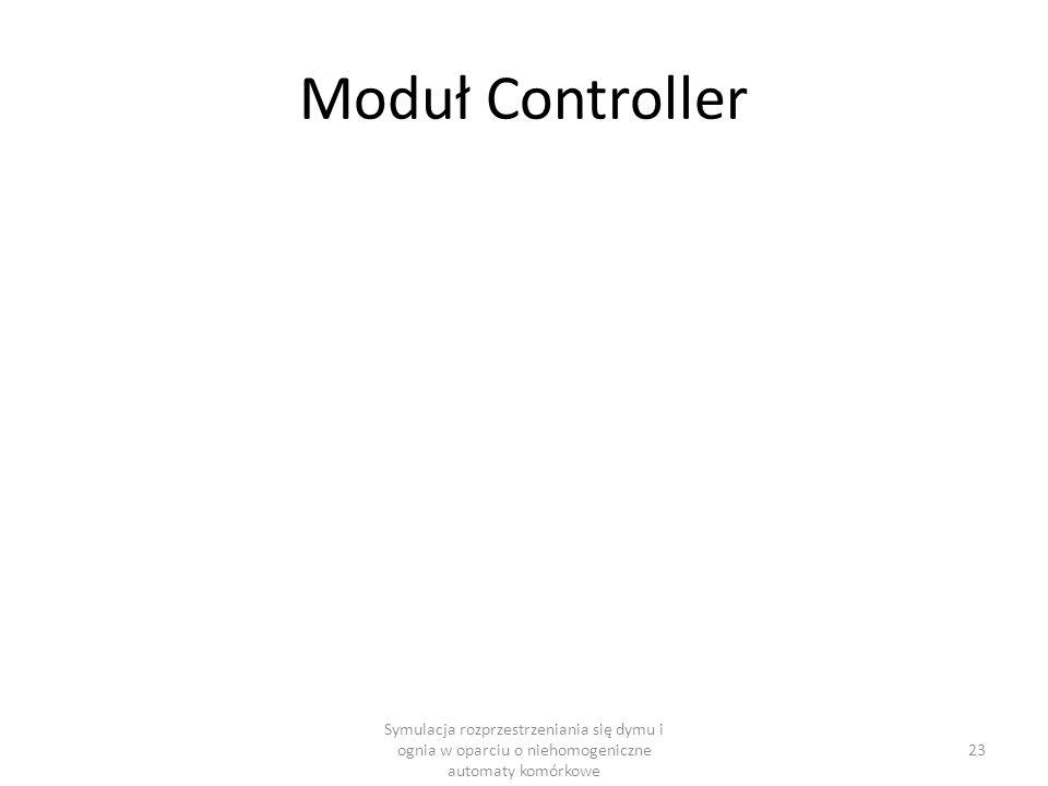 Moduł Controller Symulacja rozprzestrzeniania się dymu i ognia w oparciu o niehomogeniczne automaty komórkowe.