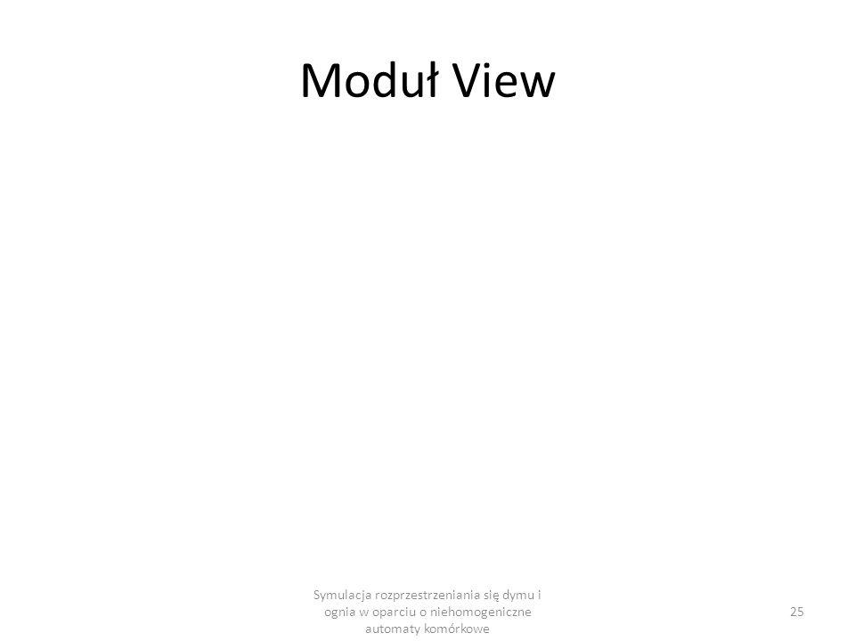 Moduł View Symulacja rozprzestrzeniania się dymu i ognia w oparciu o niehomogeniczne automaty komórkowe.