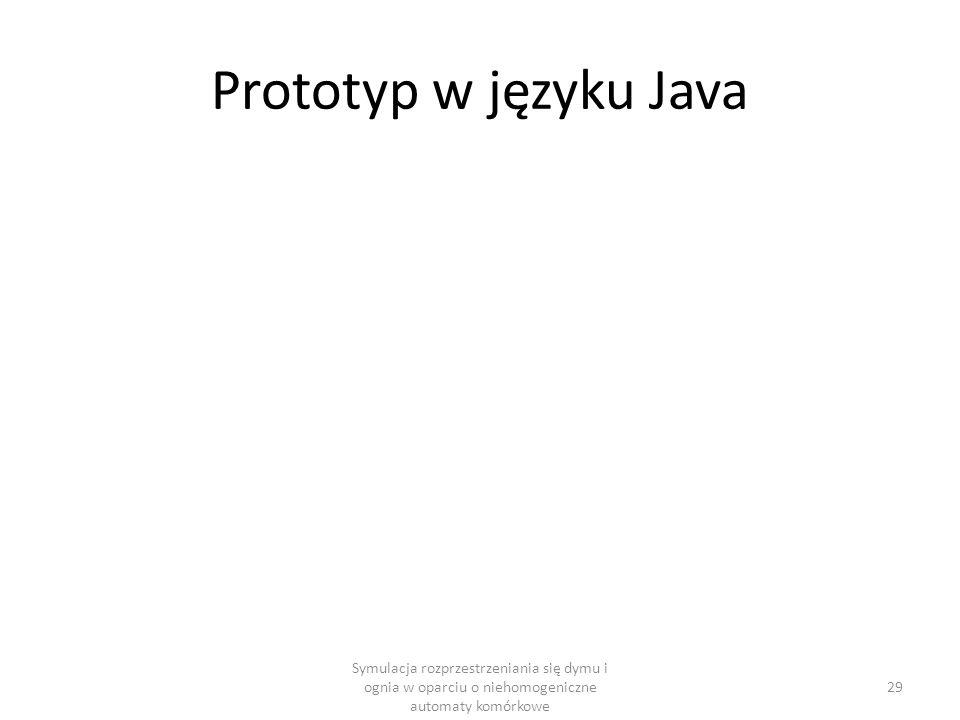 Prototyp w języku Java Symulacja rozprzestrzeniania się dymu i ognia w oparciu o niehomogeniczne automaty komórkowe.