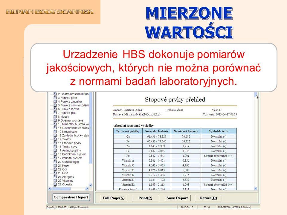 MIERZONE WARTOŚCI Urzadzenie HBS dokonuje pomiarów jakościowych, których nie można porównać z normami badań laboratoryjnych.