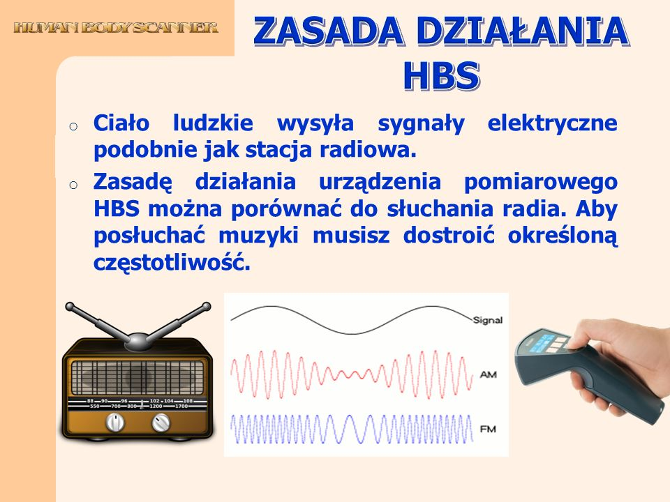ZASADA DZIAŁANIA HBS Ciało ludzkie wysyła sygnały elektryczne podobnie jak stacja radiowa.