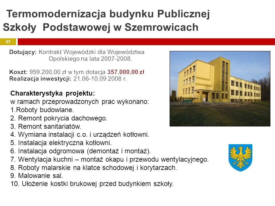 Termomodernizacja budynku Publicznej Szkoły Podstawowej w Szemrowicach
