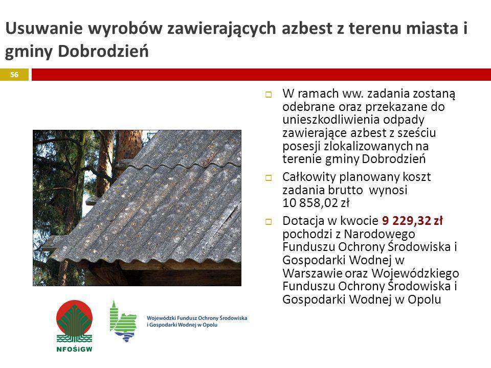 Usuwanie wyrobów zawierających azbest z terenu miasta i gminy Dobrodzień