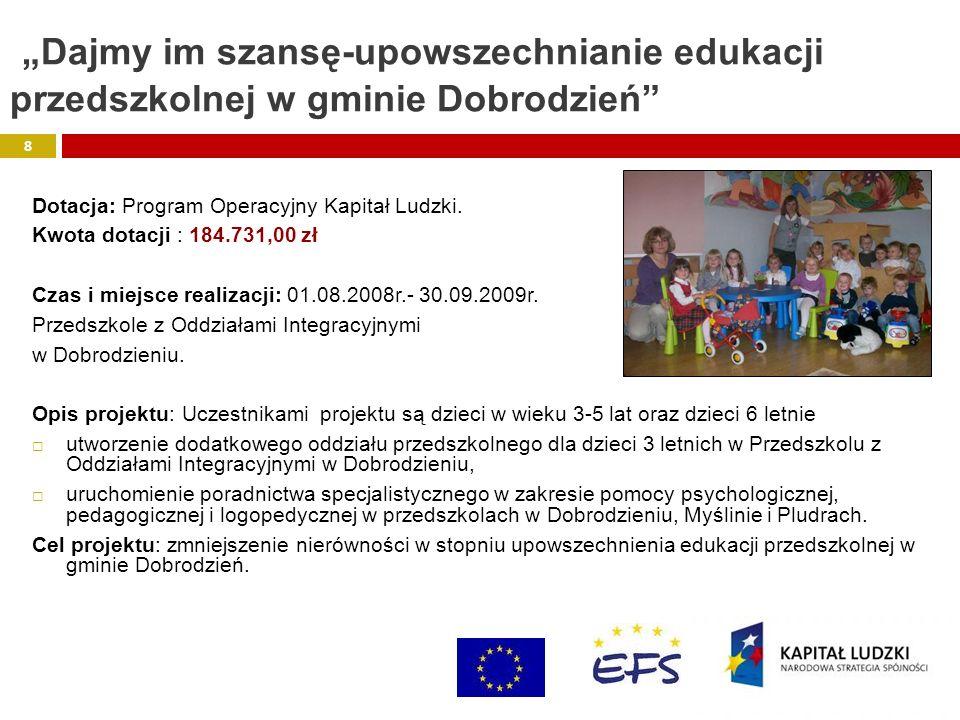 """""""Dajmy im szansę-upowszechnianie edukacji przedszkolnej w gminie Dobrodzień"""