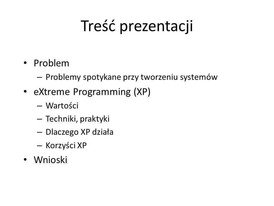Treść prezentacji Problem eXtreme Programming (XP) Wnioski