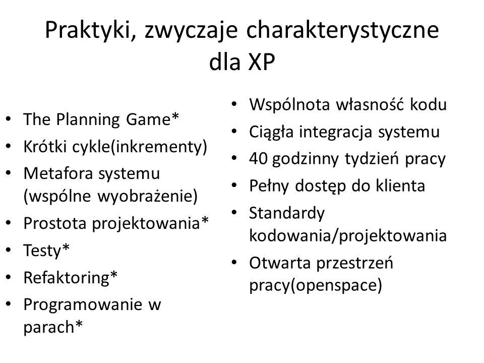 Praktyki, zwyczaje charakterystyczne dla XP