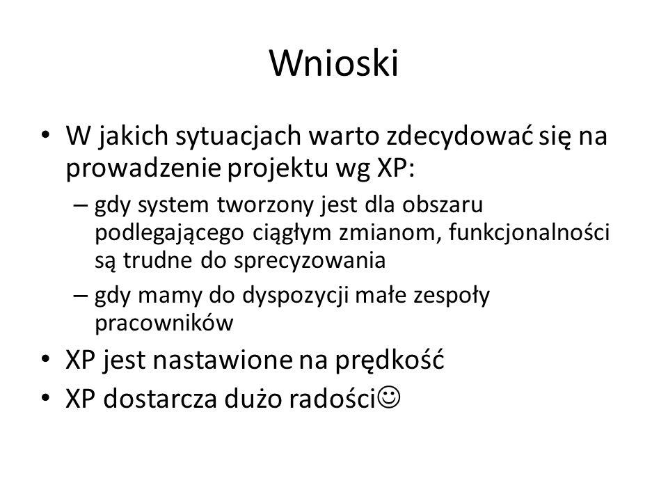 Wnioski W jakich sytuacjach warto zdecydować się na prowadzenie projektu wg XP: