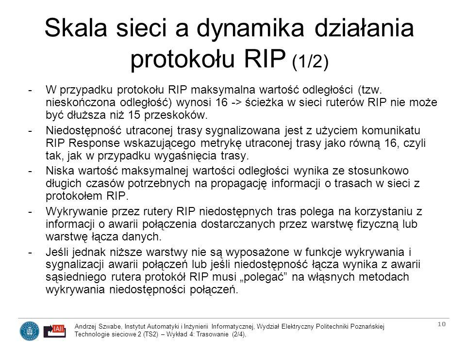 Skala sieci a dynamika działania protokołu RIP (1/2)