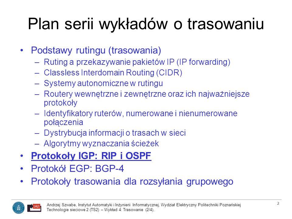Plan serii wykładów o trasowaniu