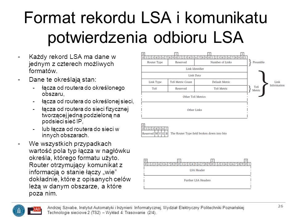 Format rekordu LSA i komunikatu potwierdzenia odbioru LSA