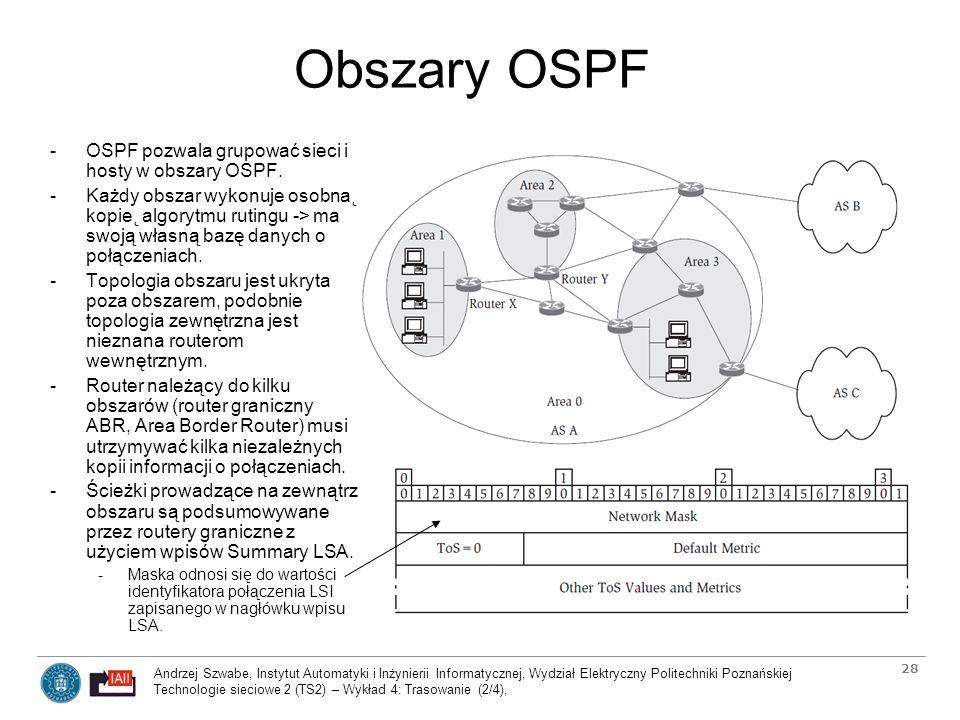 Obszary OSPF OSPF pozwala grupować sieci i hosty w obszary OSPF.
